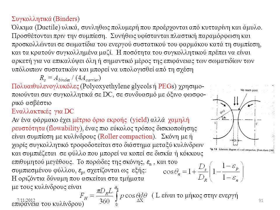 7/11/2012ΔΧ Συγκολλητικά (Binders) Όλκιμα (Ductile) υλικά, συνληθως πολυμερή που προέρχονται από κυτταρίνη και άμυλο. Προσθέτονται πριν την συμπίεση.