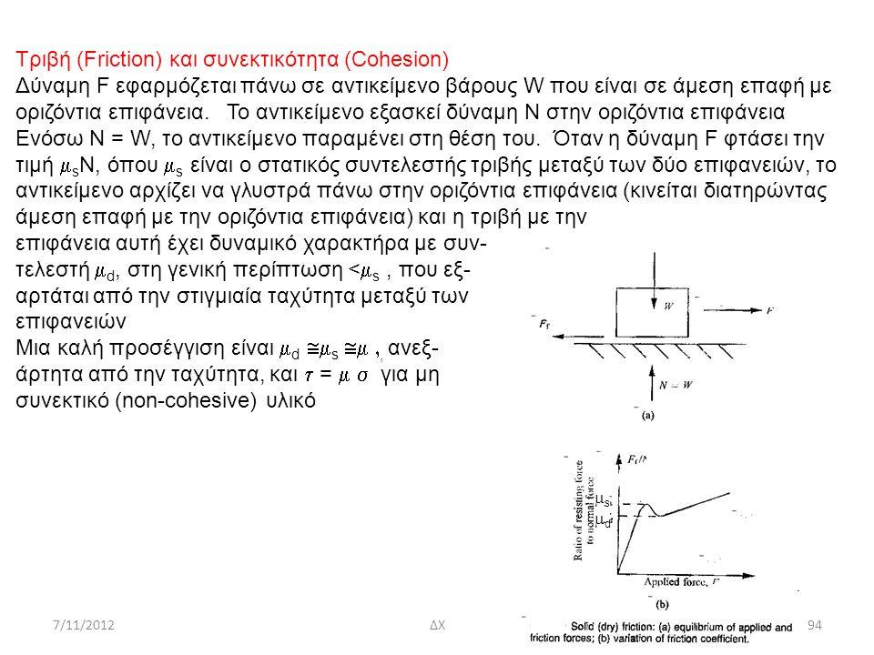 7/11/2012ΔΧ94 Τριβή (Friction) και συνεκτικότητα (Cohesion) Δύναμη F εφαρμόζεται πάνω σε αντικείμενο βάρους W που είναι σε άμεση επαφή με οριζόντια επ