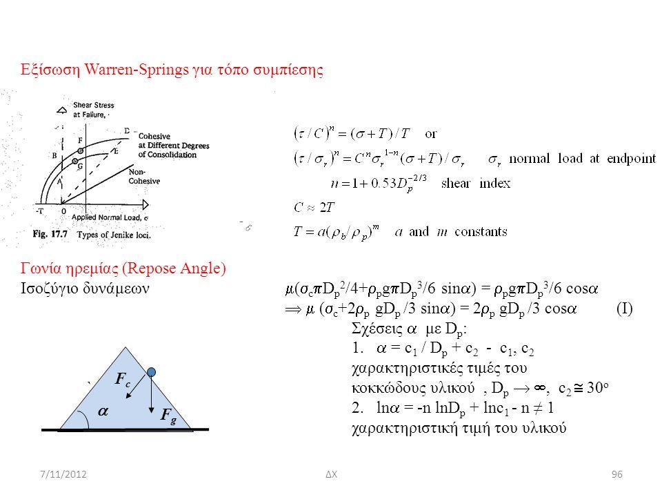 7/11/2012ΔΧ96 Eξίσωση Warren-Springs για τόπο συμπίεσης Γωνία ηρεμίας (Repose Angle) Ισοζύγιο δυνάμεων  (  c  D p 2 /4+  p g  D p 3 /6 sin  ) =