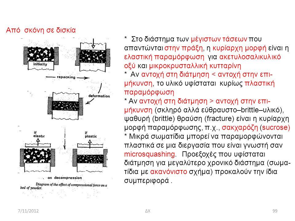 7/11/2012ΔΧ99 Από σκόνη σε δισκία * Στο διάστημα των μέγιστων τάσεων που απαντώνται στην πράξη, η κυρίαρχη μορφή είναι η elastic ελαστική παραμόρφωση