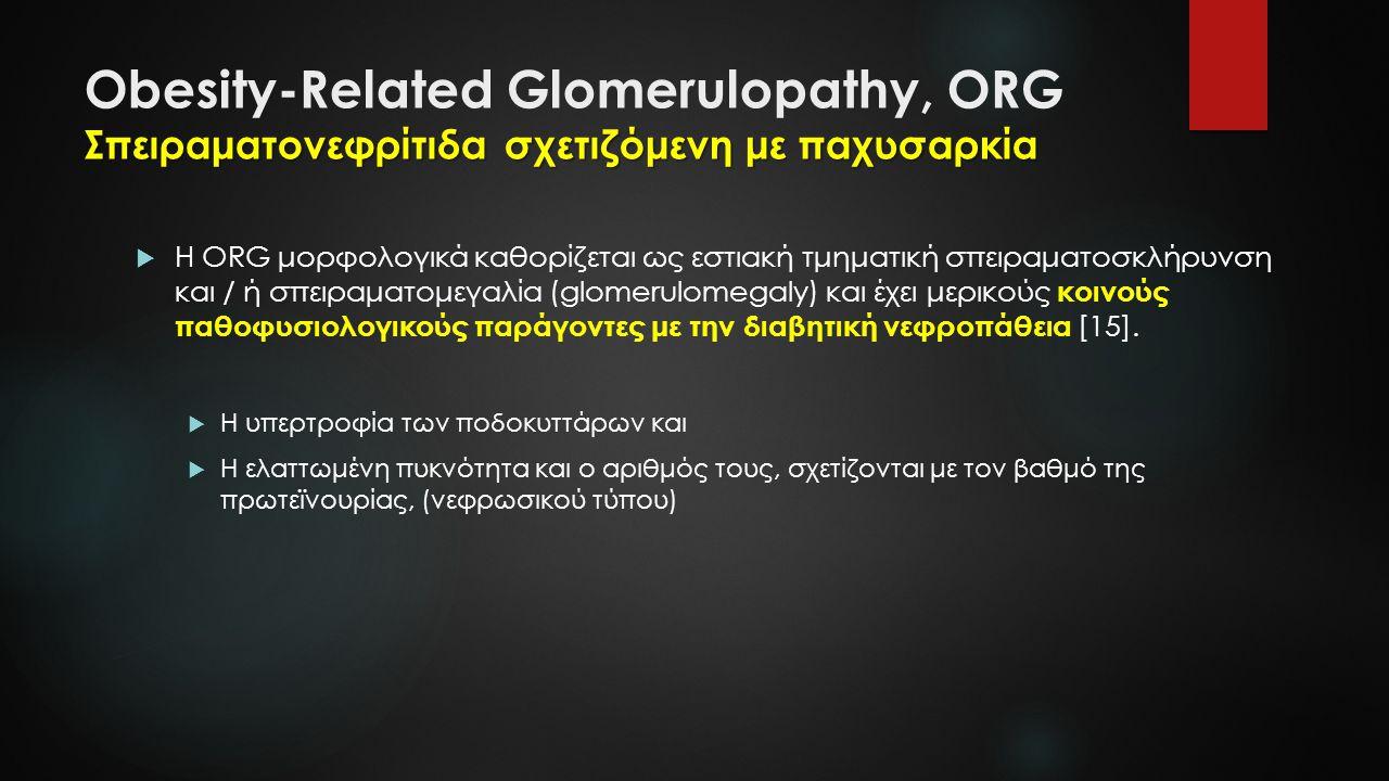 Σπειραματονεφρίτιδα σχετιζόμενη με παχυσαρκία Obesity-Related Glomerulopathy, ORG Σπειραματονεφρίτιδα σχετιζόμενη με παχυσαρκία  Η ORG μορφολογικά καθορίζεται ως εστιακή τμηματική σπειραματοσκλήρυνση και / ή σπειραματομεγαλία (glomerulomegaly) και έχει μερικούς κοινούς παθοφυσιολογικούς παράγοντες με την διαβητική νεφροπάθεια [15].