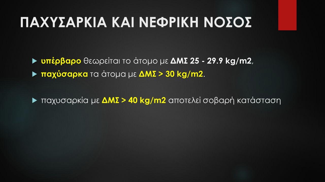 ΠΑΧΥΣΑΡΚΙΑ ΚΑΙ ΝΕΦΡΙΚΗ ΝΟΣΟΣ  υπέρβαρο  υπέρβαρο θεωρείται το άτομο με ΔΜΣ 25 - 29.9 kg/m2,  παχύσαρκα ΔΜΣ > 30 kg/m2  παχύσαρκα τα άτομα με ΔΜΣ >