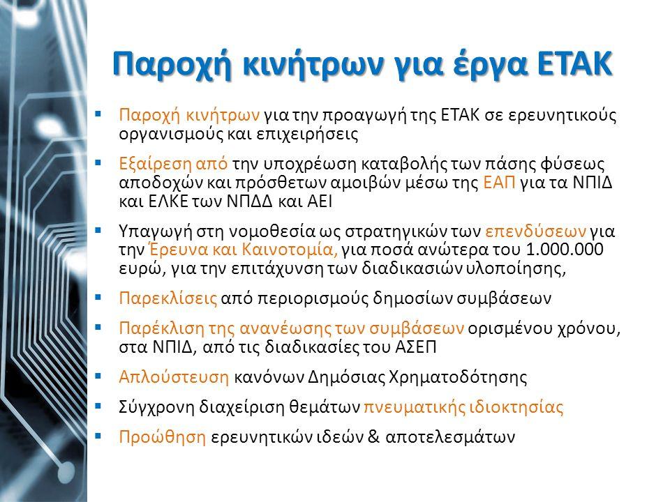 Παροχή κινήτρων για έργα ΕΤΑΚ  Παροχή κινήτρων για την προαγωγή της ΕΤΑΚ σε ερευνητικούς οργανισμούς και επιχειρήσεις  Εξαίρεση από την υποχρέωση κα