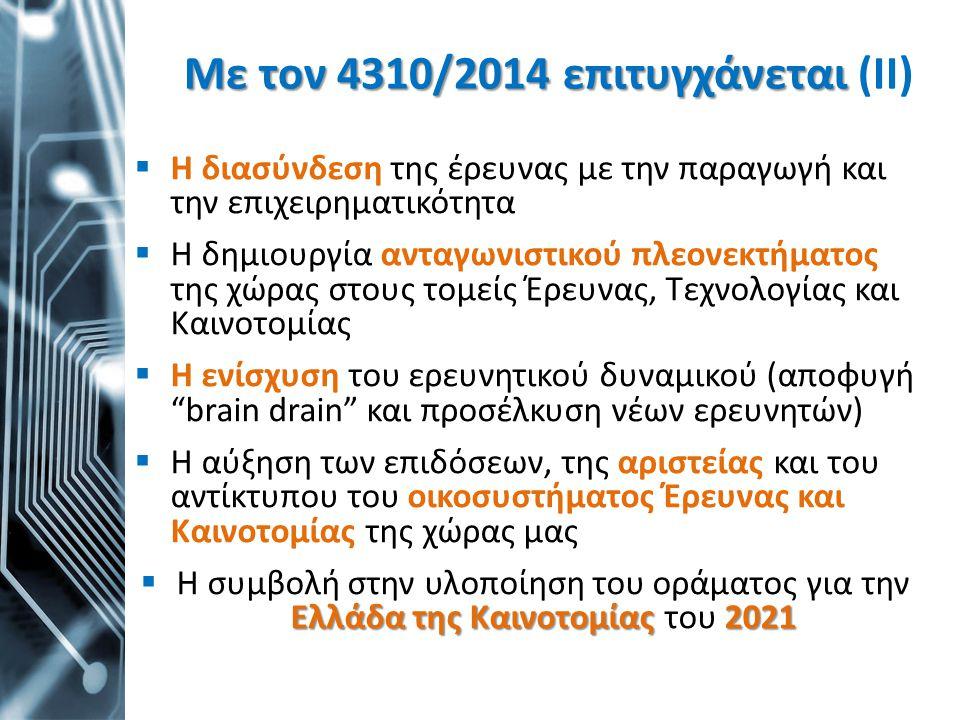 Με τον 4310/2014 επιτυγχάνεται Με τον 4310/2014 επιτυγχάνεται (ΙΙ)  Η διασύνδεση της έρευνας με την παραγωγή και την επιχειρηματικότητα  Η δημιουργί