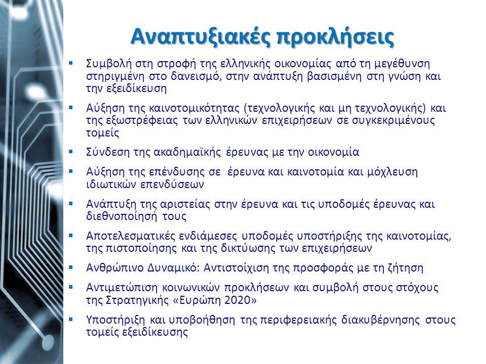 Αναπτυξιακές προκλήσεις  Συμβολή στη στροφή της ελληνικής οικονομίας από τη μεγέθυνση στηριγμένη στο δανεισμό, στην ανάπτυξη βασισμένη στη γνώση και
