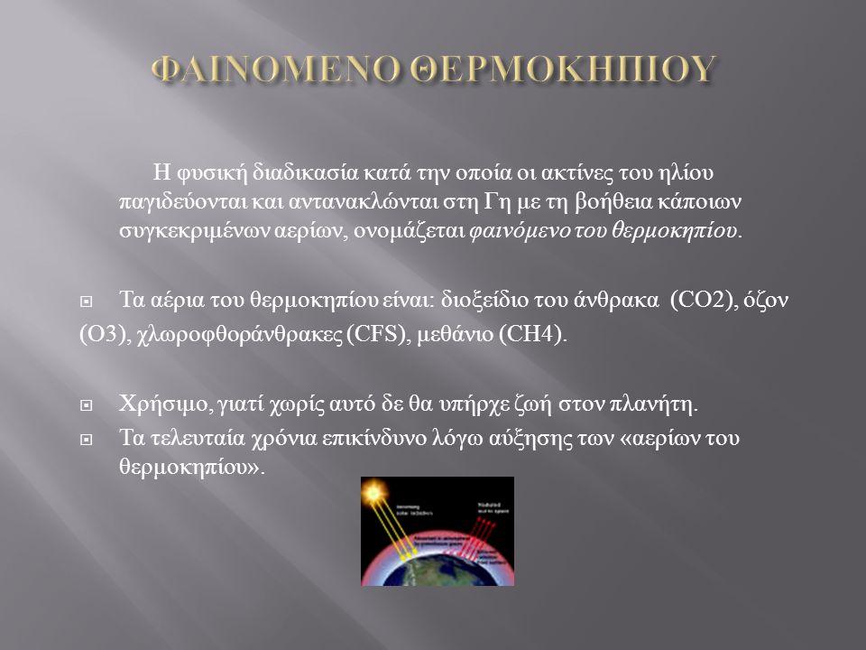 Η φυσική διαδικασία κατά την οποία οι ακτίνες του ηλίου παγιδεύονται και αντανακλώνται στη Γη με τη βοήθεια κάποιων συγκεκριμένων αερίων, ονομάζεται φ