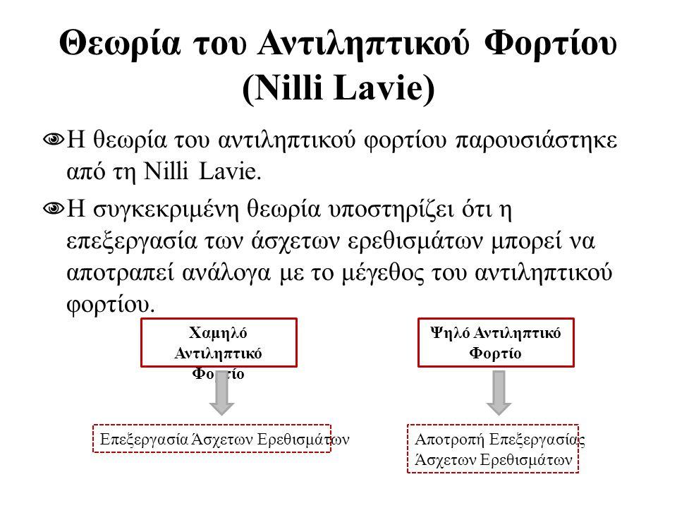 Θεωρία του Αντιληπτικού Φορτίου (Nilli Lavie)  Η θεωρία του αντιληπτικού φορτίου παρουσιάστηκε από τη Nilli Lavie.  Η συγκεκριμένη θεωρία υποστηρίζε