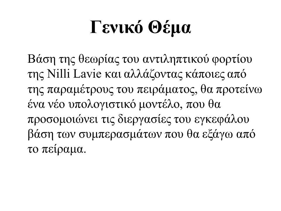 Γενικό Θέμα Βάση της θεωρίας του αντιληπτικού φορτίου της Nilli Lavie και αλλάζοντας κάποιες από της παραμέτρους του πειράματος, θα προτείνω ένα νέο υ