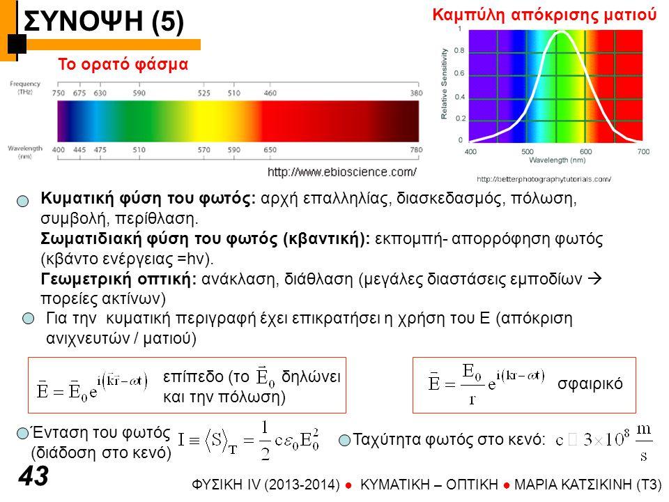 ΣΥΝΟΨΗ (5) ΦΥΣΙΚΗ IV (2013-2014) ● KYMATIKH – OΠTIKH ● ΜΑΡΙΑ ΚΑΤΣΙΚΙΝΗ (T3) 4 Διατήρηση ενέργειας στο η/μ πεδίο Ροή ακτινοβολίας Ρυθμός ελάττωσης πυκνότητας ενέργειας Παραγωγή έργου στα φορτία της ύλης Ορμή ακτινοβολίας Ε Β k Το φως έχει ορμή λόγω της δύναμης (Lorentz) που ασκεί το ηλεκτρικό και το μαγνητικό πεδίο του στα φορτία της ύλης Για πλήρως απορροφητική επιφάνεια Για πλήρως ανακλαστική επιφάνεια ενέργεια (J) ταχύτητα (m/s) Υπολογισμός δύναμης που ασκείται