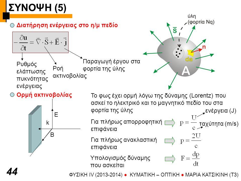 ΣΥΝΟΨΗ (5) ΦΥΣΙΚΗ IV (2013-2014) ● KYMATIKH – OΠTIKH ● ΜΑΡΙΑ ΚΑΤΣΙΚΙΝΗ (T3) 4545 Πίεση ακτινοβολίας Το φως ασκεί πίεση (δύναμη / επιφάνεια) πλήρης απορρόφηση πίεση ακτινοβολίας = πυκνότητα ενέργειας (μέση τιμή) πλήρης ανάκλαση Λαμβάνοντας υπόψη ότι Ι=uc Ταχύτητα διάδοσης του φωτός (πειραματικός προσδιορισμός) Γαλιλαίος, Roemer, Bradley, Fizeau, Michelson (συνοπτικά) Πείραμα Fizeau