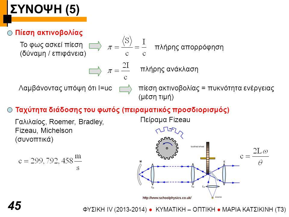 ΣΥΝΟΨΗ (5) ΦΥΣΙΚΗ IV (2013-2014) ● KYMATIKH – OΠTIKH ● ΜΑΡΙΑ ΚΑΤΣΙΚΙΝΗ (T3) 4646 Κβαντική φύση του φωτός Φωτοηλεκτρικό φαινόμενο μέταλλο Φως (UV) φωτοηλεκτρόνια * αύξηση της έντασης του φωτός  αύξηση του αριθμού των φωτοηλεκτρονίων * αύξηση της συχνότητας του φωτός  αύξηση της κινητικής ενέργειας των φωτοηλεκτρονίων Ενέργεια κβάντου = hν, Ενέργεια δέσμης = nhν (n= αριθμός κβάντων) Ορμή: Ενέργεια: Στροφορμή (πείραμα Beth): αριστερόστροφα κυκλικά πολωμένο φως: σπιν φωτονίου δεξιόστροφα κυκλικά πολωμένο φως: σπιν φωτονίου γραμμικά πολωμένο φως: σπιν φωτονίου +1