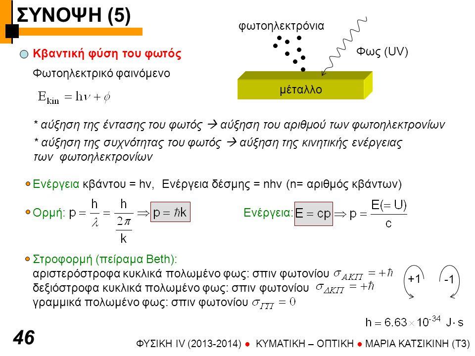 ΣΥΝΟΨΗ (5) ΦΥΣΙΚΗ IV (2013-2014) ● KYMATIKH – OΠTIKH ● ΜΑΡΙΑ ΚΑΤΣΙΚΙΝΗ (T3) 4747 Αντιστοιχία κβαντικής και κυματικής περιγραφής Ενέργεια φωτονίου: Κυματάριθμος: Κβαντικοί αριθμοί: k x, k y, k z, σ Φωτόνια με ίδιους κβαντικούς αριθμούς (ίδιο k= ίδια διεύθυνση και μήκος κύματος, ίδιο σπιν) συνεισφέρουν στην ενέργεια της ίδιας δέσμης φωτός Ε=nhν, ένταση(Ι) = ενέργεια(Ε)/ [χρόνος  επιφάνεια] Ακτίνες φωτός ακτίνα μέτωπο κύματος  Γραμμές κάθετες στα μέτωπα κύματος (προσδιορίζουν τη διεύθυνση διάδοσης δέσμης φωτός στη γεωμετρική οπτική)