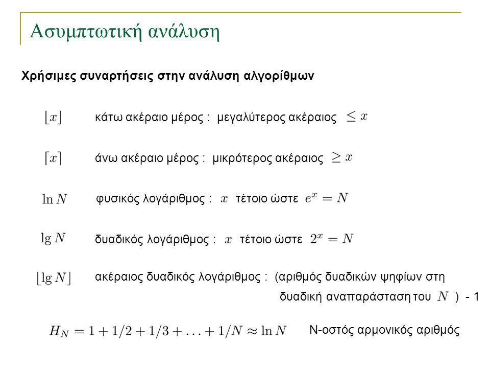 Ασυμπτωτική ανάλυση Χρήσιμες συναρτήσεις στην ανάλυση αλγορίθμων κάτω ακέραιο μέρος : μεγαλύτερος ακέραιος άνω ακέραιο μέρος : μικρότερος ακέραιος φυσ