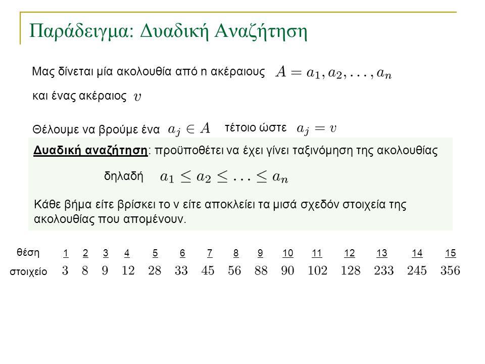 Παράδειγμα: Δυαδική Αναζήτηση 123456157891011121314 θέση στοιχείο Δυαδική αναζήτηση: προϋποθέτει να έχει γίνει ταξινόμηση της ακολουθίας δηλαδή Κάθε β