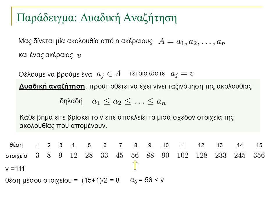 Παράδειγμα: Δυαδική Αναζήτηση θέση στοιχείο θέση μέσου στοιχείου = (15+1)/2 = 8 v =111 α 8 = 56 < v Δυαδική αναζήτηση: προϋποθέτει να έχει γίνει ταξιν