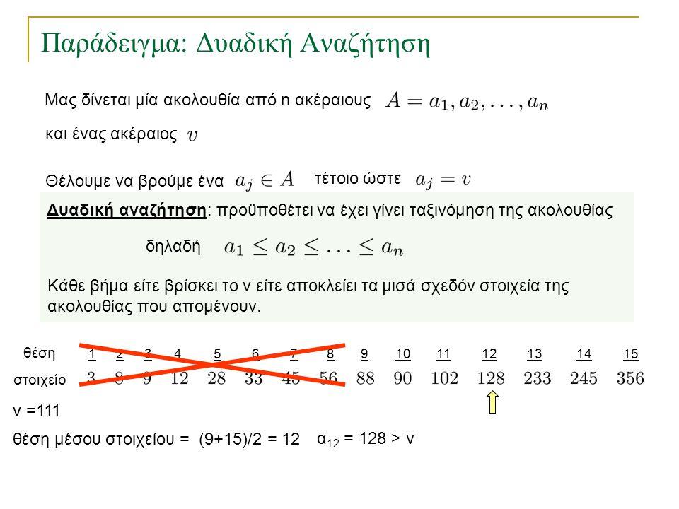 123456157891011121314 Παράδειγμα: Δυαδική Αναζήτηση θέση στοιχείο θέση μέσου στοιχείου = (9+15)/2 = 12 v =111 α 12 = 128 > v Δυαδική αναζήτηση: προϋπο