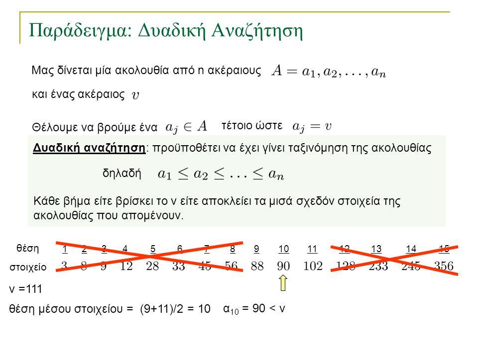 123456157891011121314 Παράδειγμα: Δυαδική Αναζήτηση θέση στοιχείο θέση μέσου στοιχείου = (9+11)/2 = 10 v =111 α 10 = 90 < v Δυαδική αναζήτηση: προϋποθ