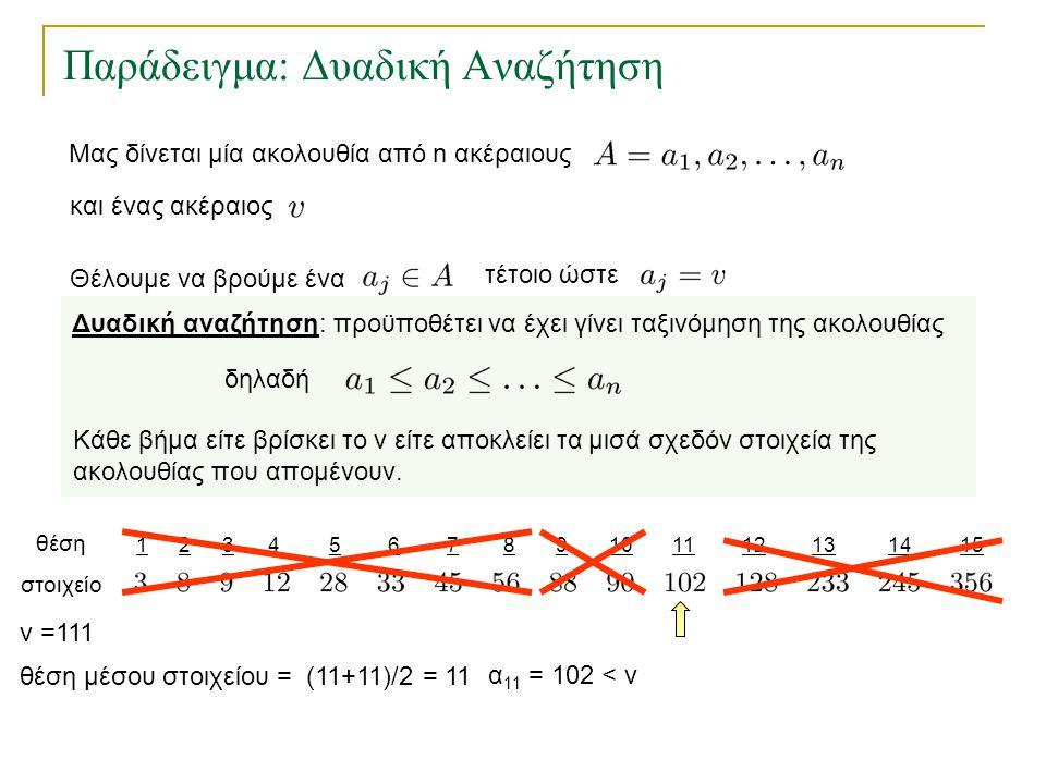 123456157891011121314 Παράδειγμα: Δυαδική Αναζήτηση θέση στοιχείο θέση μέσου στοιχείου = (11+11)/2 = 11 v =111 α 11 = 102 < v Δυαδική αναζήτηση: προϋπ