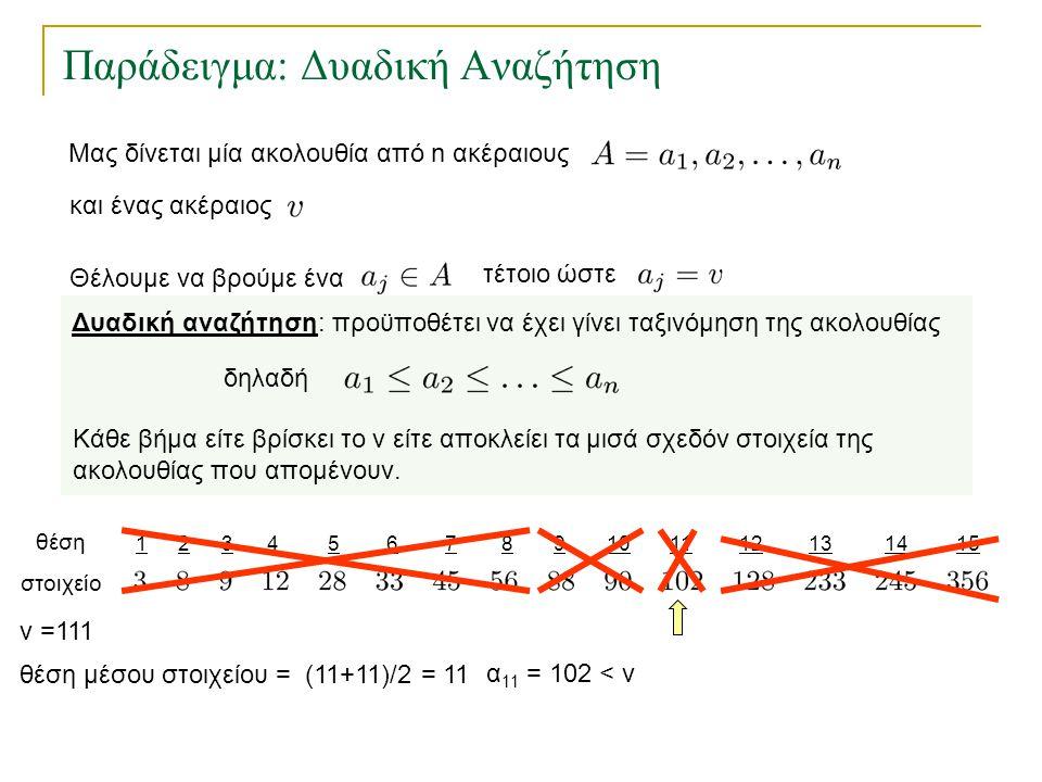 123456157812131491011 Παράδειγμα: Δυαδική Αναζήτηση θέση στοιχείο θέση μέσου στοιχείου = (11+11)/2 = 11 v =111 α 11 = 102 < v Δυαδική αναζήτηση: προϋπ