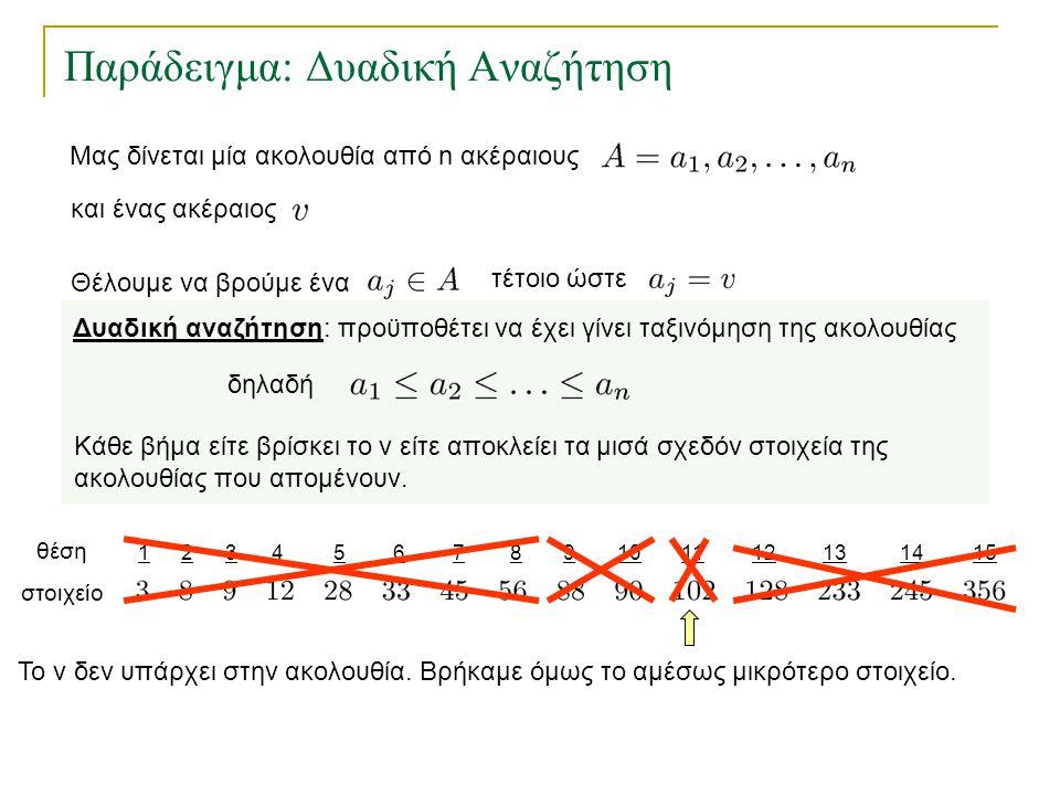 123456157891011121314 Παράδειγμα: Δυαδική Αναζήτηση θέση στοιχείο Το v δεν υπάρχει στην ακολουθία. Βρήκαμε όμως το αμέσως μικρότερο στοιχείο. Δυαδική
