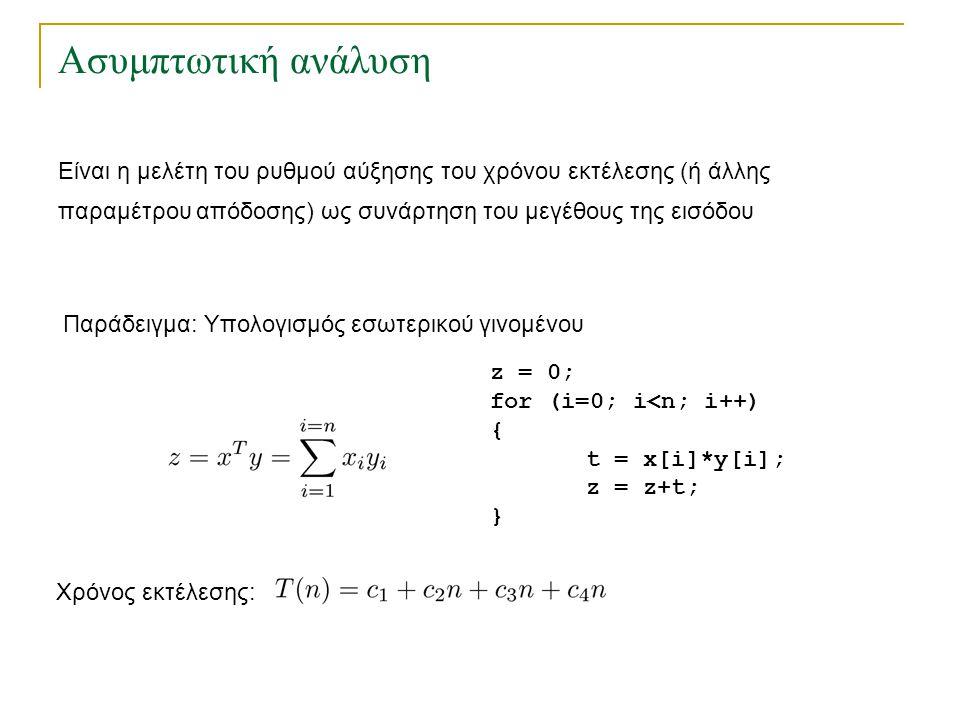 Ασυμπτωτική ανάλυση Είναι η μελέτη του ρυθμού αύξησης του χρόνου εκτέλεσης (ή άλλης παραμέτρου απόδοσης) ως συνάρτηση του μεγέθους της εισόδου z = 0;