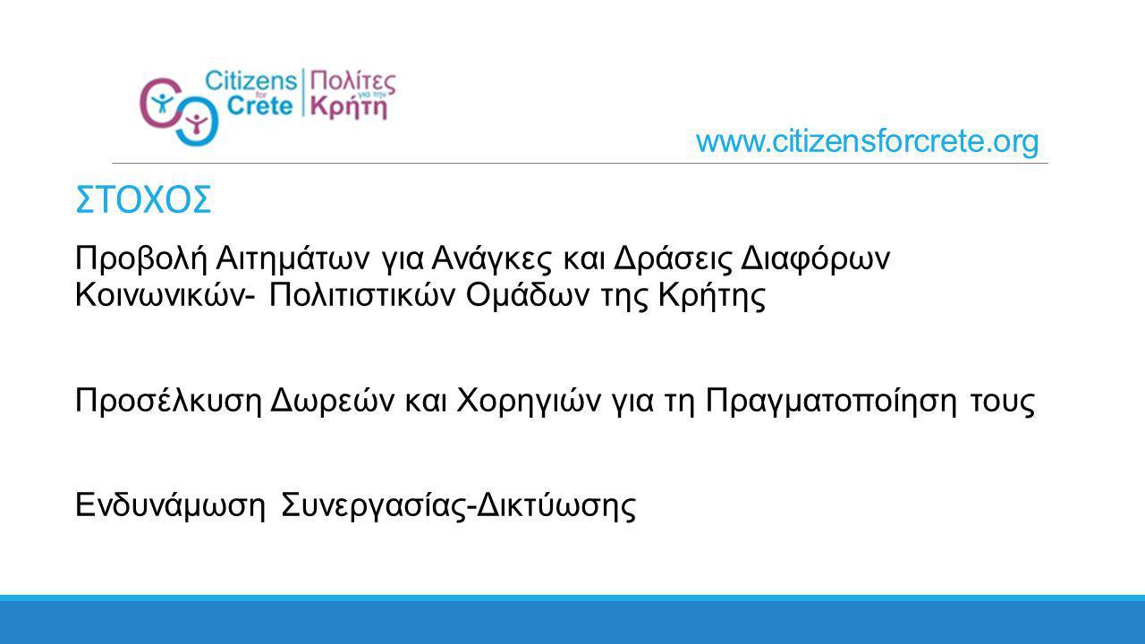 www.citizensforcrete.org ΣΤΟΧΟΣ Προβολή Αιτημάτων για Ανάγκες και Δράσεις Διαφόρων Κοινωνικών- Πολιτιστικών Ομάδων της Κρήτης Προσέλκυση Δωρεών και Χορηγιών για τη Πραγματοποίηση τους Ενδυνάμωση Συνεργασίας-Δικτύωσης