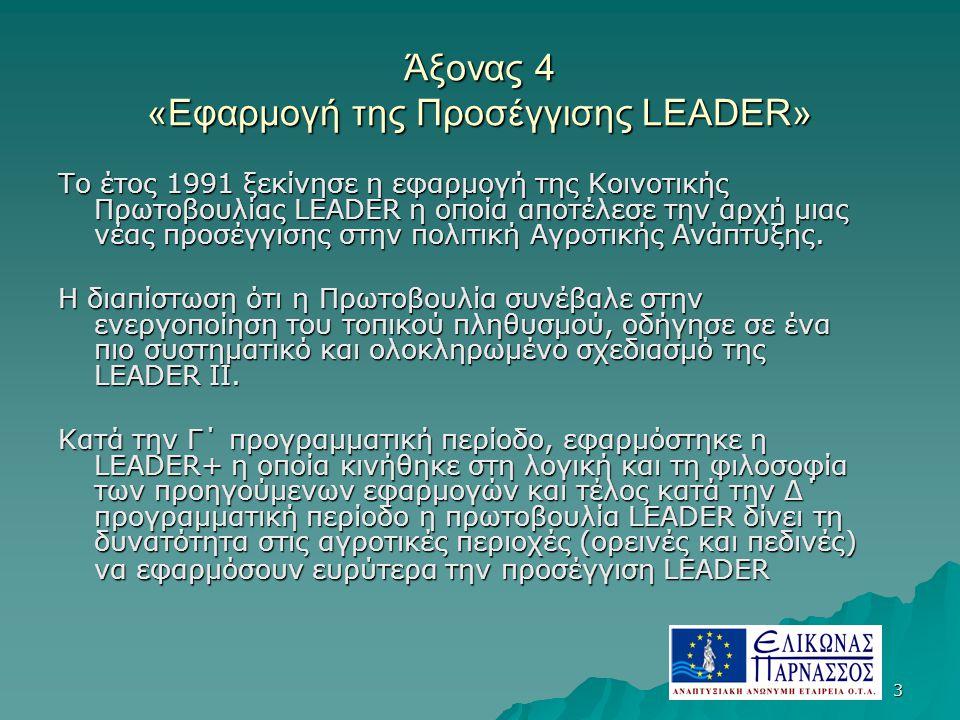 3 Άξονας 4 «Εφαρμογή της Προσέγγισης LEADER» Το έτος 1991 ξεκίνησε η εφαρμογή της Κοινοτικής Πρωτοβουλίας LEADER η οποία αποτέλεσε την αρχή μιας νέας προσέγγισης στην πολιτική Αγροτικής Ανάπτυξης.