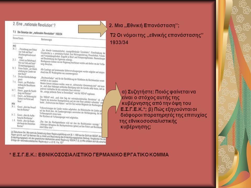 2. Μια,,Εθνική Επανάσταση''; Τ2 Οι νόμοι της,,εθνικής επανάστασης'' 1933/34 α) Συζητήστε: Ποιός φαίνεται να είναι ο στόχος αυτής της κυβέρνησης από τη