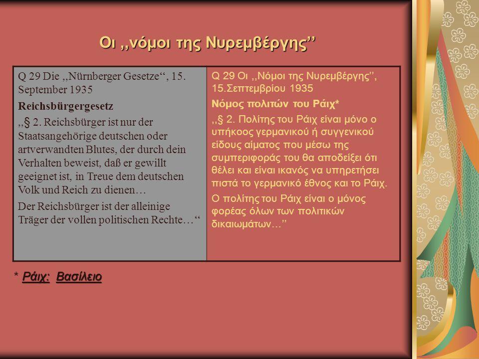 Οι,,νόμοι της Νυρεμβέργης'' Q 29 Die,,Nürnberger Gesetze'', 15.