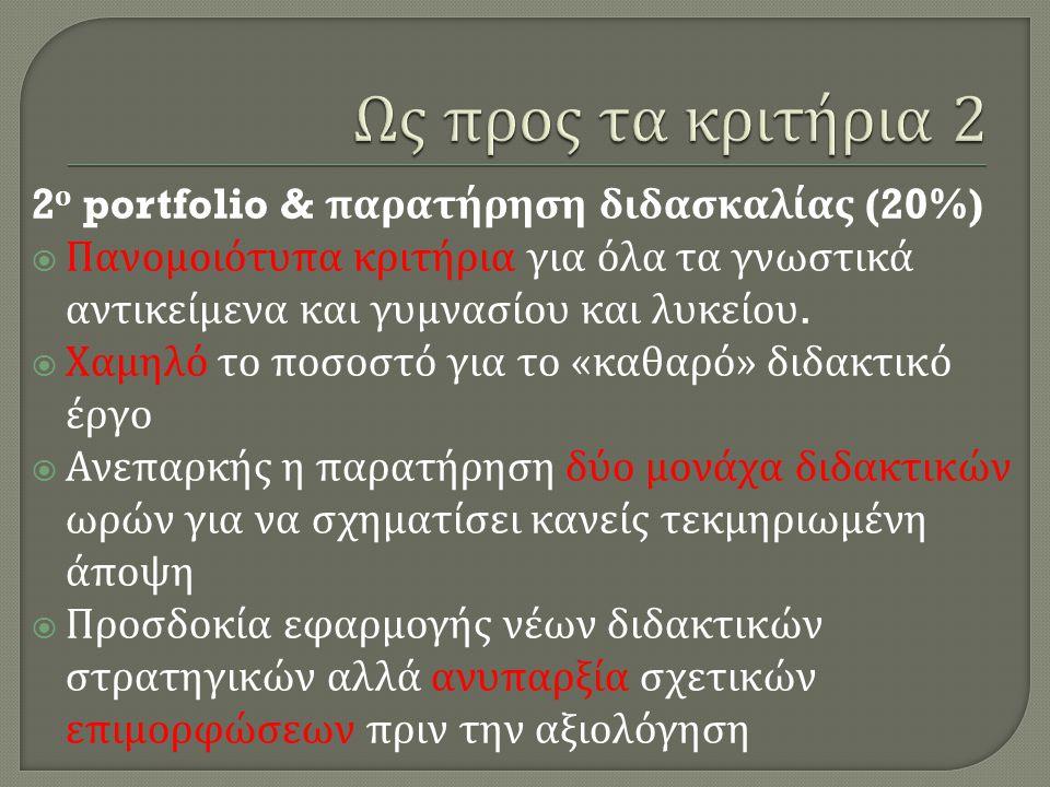 2 ο portfolio & παρατήρηση διδασκαλίας (20%)  Πανομοιότυπα κριτήρια για όλα τα γνωστικά αντικείμενα και γυμνασίου και λυκείου.