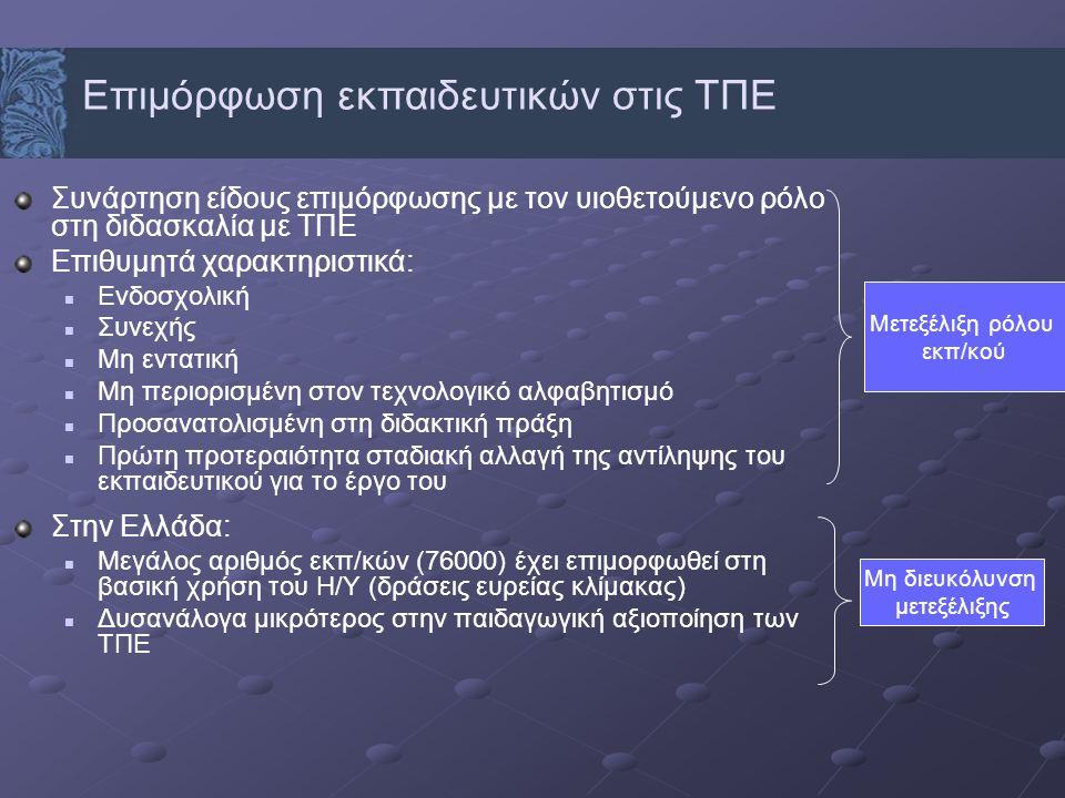 Συνάρτηση είδους επιμόρφωσης με τον υιοθετούμενο ρόλο στη διδασκαλία με ΤΠΕ Επιθυμητά χαρακτηριστικά: Ενδοσχολική Συνεχής Μη εντατική Μη περιορισμένη στον τεχνολογικό αλφαβητισμό Προσανατολισμένη στη διδακτική πράξη Πρώτη προτεραιότητα σταδιακή αλλαγή της αντίληψης του εκπαιδευτικού για το έργο του Στην Ελλάδα: Μεγάλος αριθμός εκπ/κών (76000) έχει επιμορφωθεί στη βασική χρήση του Η/Υ (δράσεις ευρείας κλίμακας) Δυσανάλογα μικρότερος στην παιδαγωγική αξιοποίηση των ΤΠΕ Επιμόρφωση εκπαιδευτικών στις ΤΠΕ Μετεξέλιξη ρόλου εκπ/κού Μη διευκόλυνση μετεξέλιξης