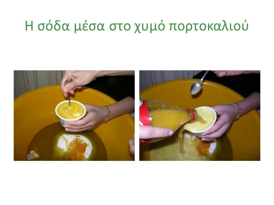 Η σόδα μέσα στο χυμό πορτοκαλιού