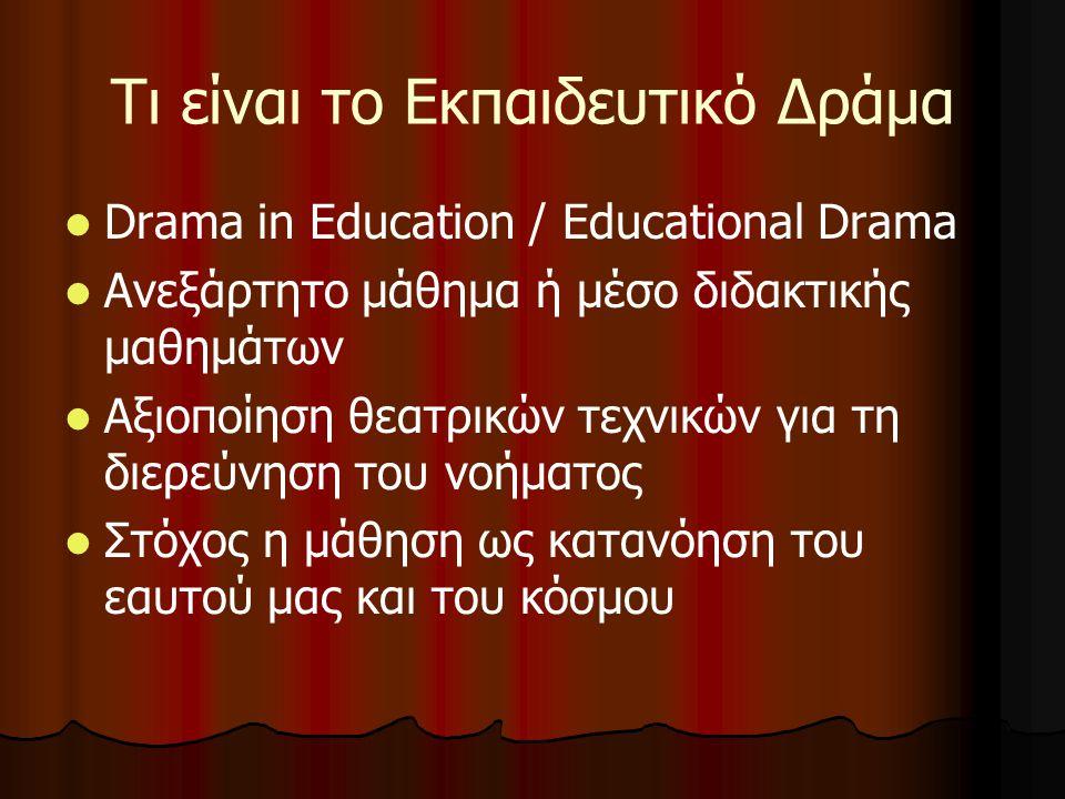 Τι είναι το Εκπαιδευτικό Δράμα Drama in Education / Educational Drama Ανεξάρτητο μάθημα ή μέσο διδακτικής μαθημάτων Αξιοποίηση θεατρικών τεχνικών για τη διερεύνηση του νοήματος Στόχος η μάθηση ως κατανόηση του εαυτού μας και του κόσμου