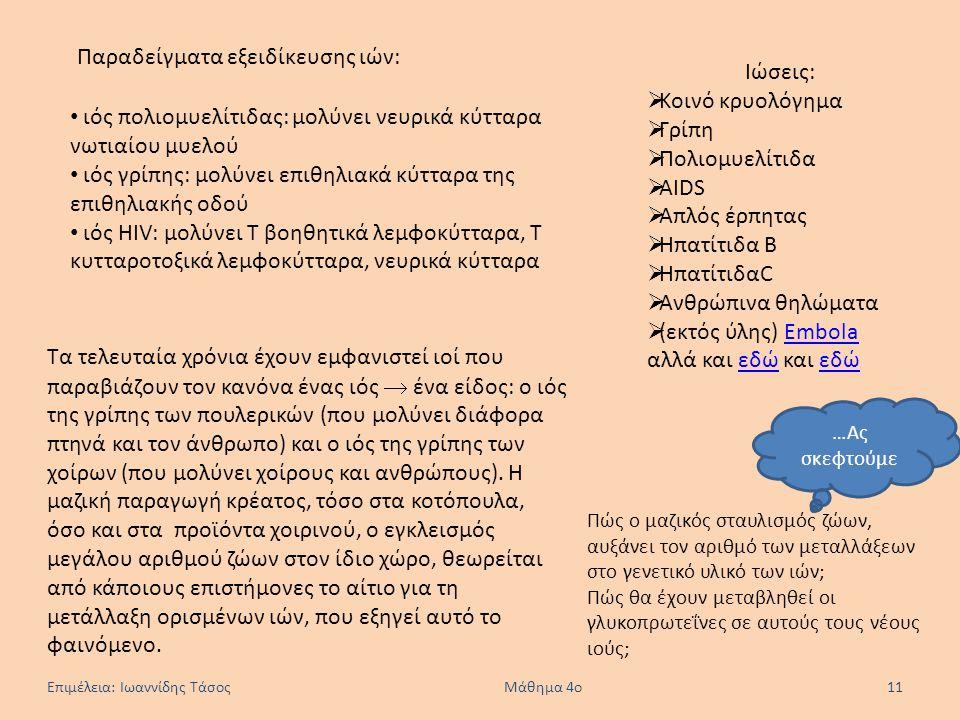 Επιμέλεια: Ιωαννίδης Τάσος Μάθημα 4ο 11 Παραδείγματα εξειδίκευσης ιών: ιός πολιομυελίτιδας: μολύνει νευρικά κύτταρα νωτιαίου μυελού ιός γρίπης: μολύνε