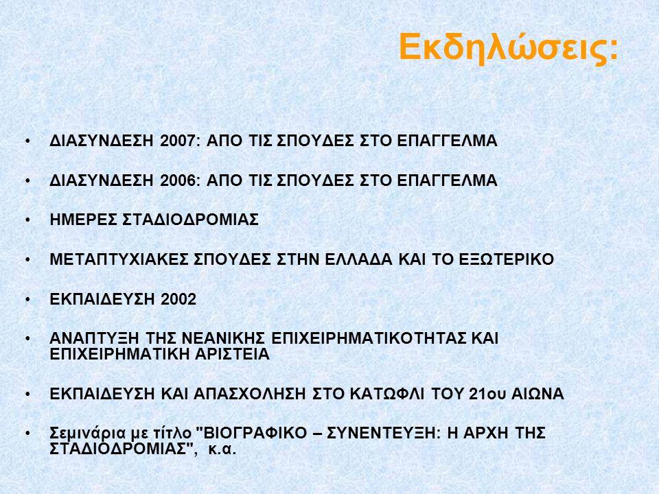 Εκδηλώσεις: ΔΙΑΣΥΝΔΕΣΗ 2007: ΑΠΟ ΤΙΣ ΣΠΟΥΔΕΣ ΣΤΟ ΕΠΑΓΓΕΛΜΑ ΔΙΑΣΥΝΔΕΣΗ 2006: ΑΠΟ ΤΙΣ ΣΠΟΥΔΕΣ ΣΤΟ ΕΠΑΓΓΕΛΜΑ ΗΜΕΡΕΣ ΣΤΑΔΙΟΔΡΟΜΙΑΣ ΜΕΤΑΠΤΥΧΙΑΚΕΣ ΣΠΟΥΔΕΣ Σ