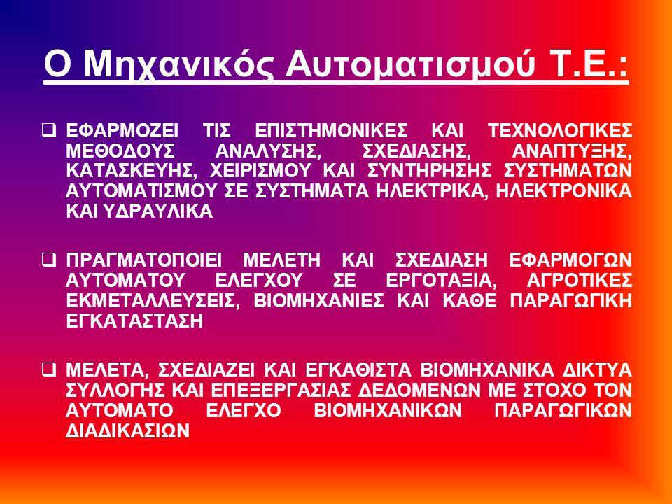 Ο Μηχανικός Αυτοματισμού Τ.Ε.:  ΕΦΑΡΜΟΖΕΙ ΤΙΣ ΕΠΙΣΤΗΜΟΝΙΚΕΣ ΚΑΙ ΤΕΧΝΟΛΟΓΙΚΕΣ ΜΕΘΟΔΟΥΣ ΑΝΑΛΥΣΗΣ, ΣΧΕΔΙΑΣΗΣ, ΑΝΑΠΤΥΞΗΣ, ΚΑΤΑΣΚΕΥΗΣ, ΧΕΙΡΙΣΜΟΥ ΚΑΙ ΣΥΝΤΗ