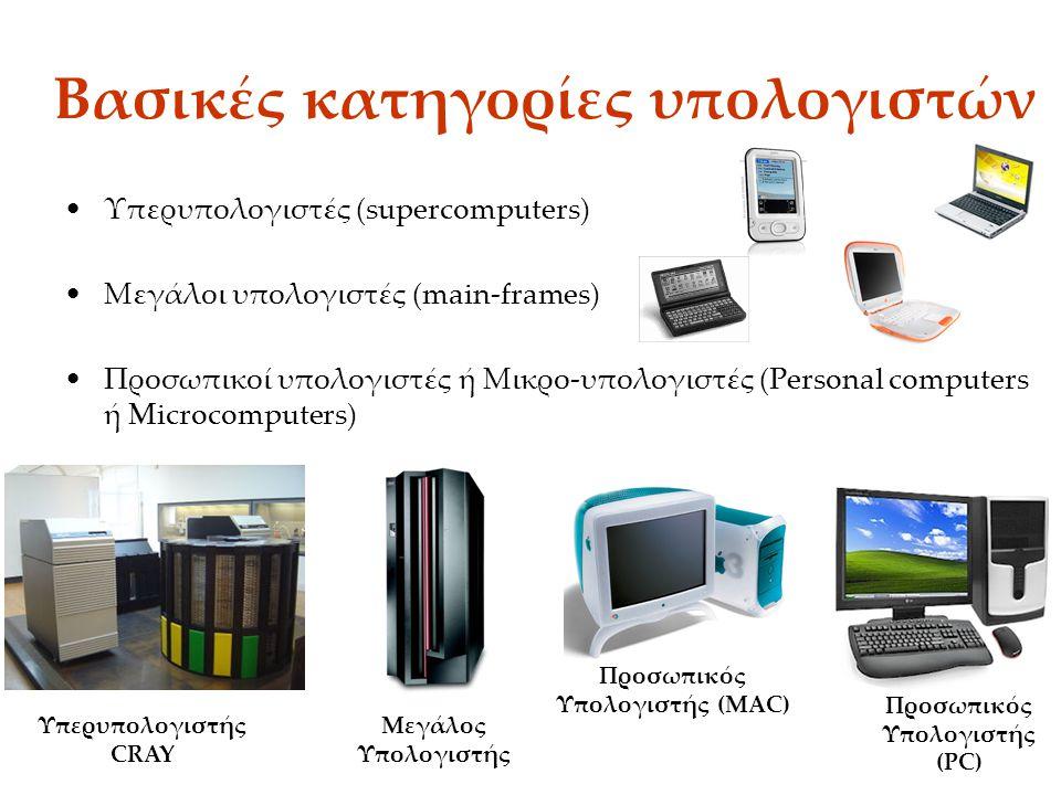 Βασικές κατηγορίες υπολογιστών Υπερυπολογιστές (supercomputers) Μεγάλοι υπολογιστές (main-frames) Προσωπικοί υπολογιστές ή Μικρο-υπολογιστές (Personal