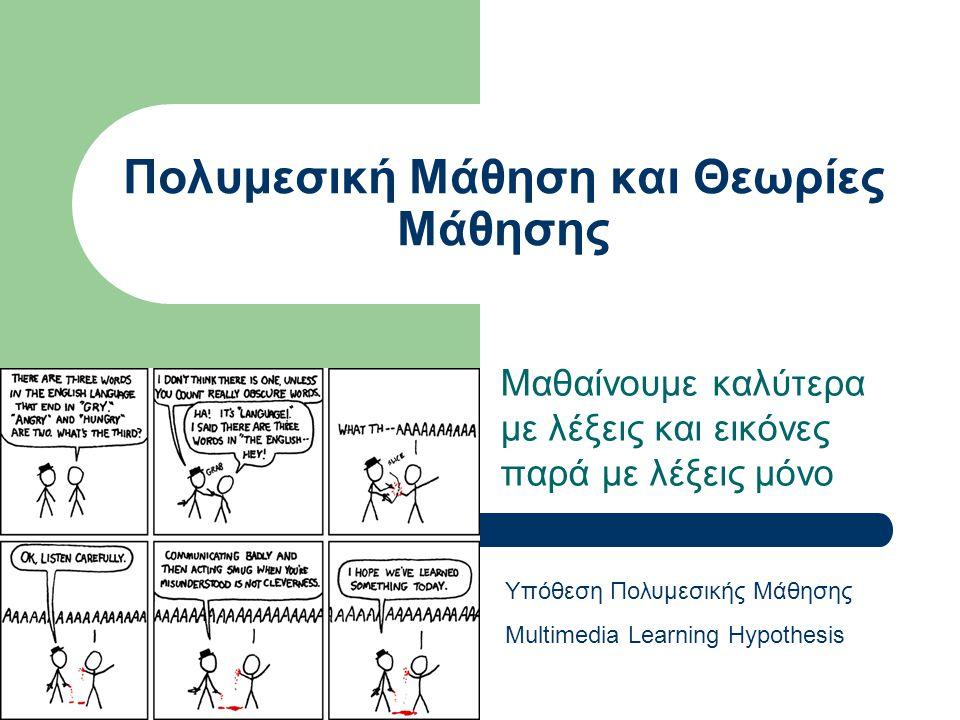 Πολυμεσική Μάθηση και Θεωρίες Μάθησης Μαθαίνουμε καλύτερα με λέξεις και εικόνες παρά με λέξεις μόνο Υπόθεση Πολυμεσικής Μάθησης Multimedia Learning Hy