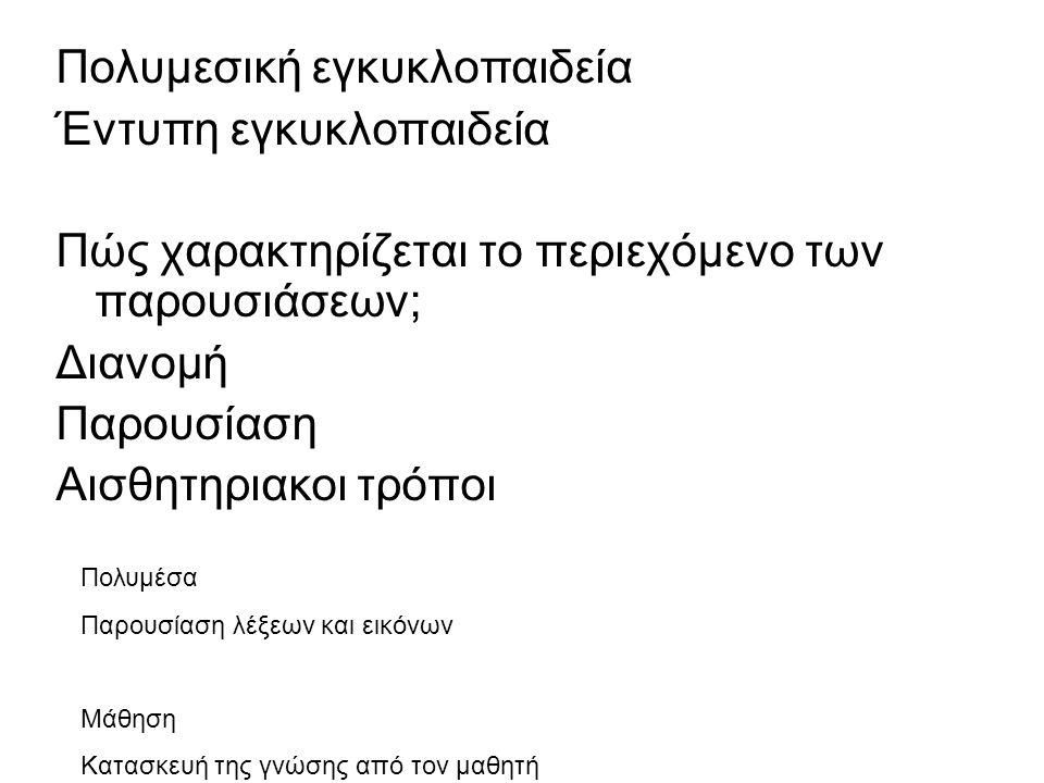 Πολυμεσική εγκυκλοπαιδεία Έντυπη εγκυκλοπαιδεία Πώς χαρακτηρίζεται το περιεχόμενο των παρουσιάσεων; Διανομή Παρουσίαση Αισθητηριακοι τρόποι Πολυμέσα Παρουσίαση λέξεων και εικόνων Μάθηση Κατασκευή της γνώσης από τον μαθητή