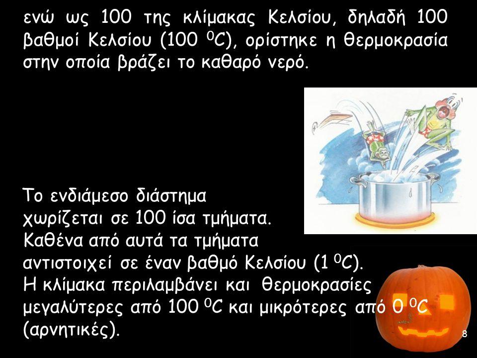 ενώ ως 100 της κλίμακας Κελσίου, δηλαδή 100 βαθμοί Κελσίου (100 0 C), ορίστηκε η θερμοκρασία στην οποία βράζει το καθαρό νερό. Το ενδιάμεσο διάστημα χ