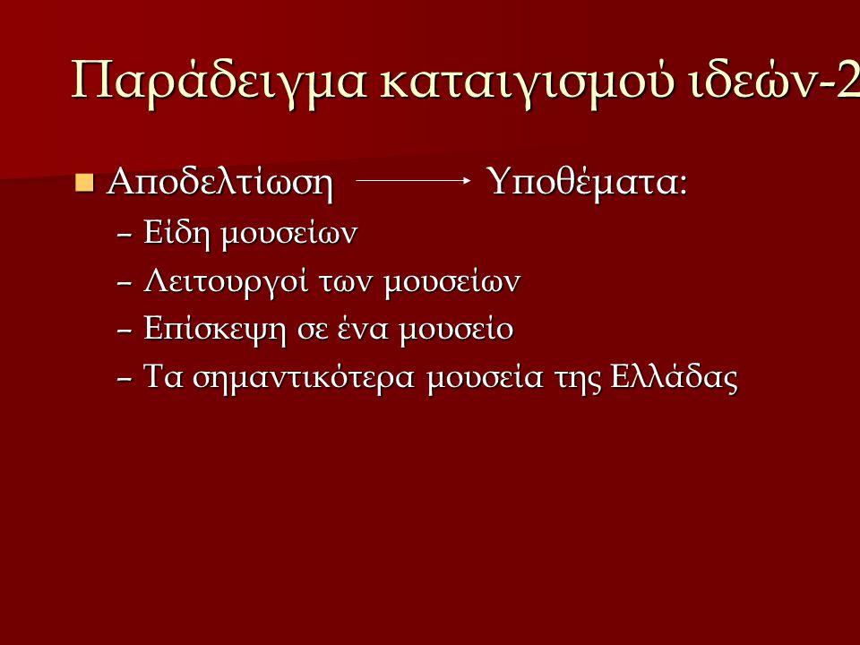 Παράδειγμα καταιγισμού ιδεών-2 Αποδελτίωση Υποθέματα: Αποδελτίωση Υποθέματα: –Είδη μουσείων –Λειτουργοί των μουσείων –Επίσκεψη σε ένα μουσείο –Τα σημαντικότερα μουσεία της Ελλάδας