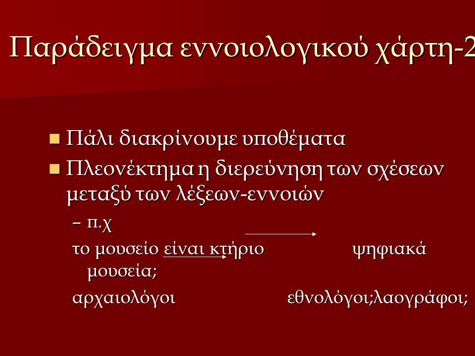 Παράδειγμα εννοιολογικού χάρτη-2 Πάλι διακρίνουμε υποθέματα Πάλι διακρίνουμε υποθέματα Πλεονέκτημα η διερεύνηση των σχέσεων μεταξύ των λέξεων-εννοιών Πλεονέκτημα η διερεύνηση των σχέσεων μεταξύ των λέξεων-εννοιών –π.χ το μουσείο είναι κτήριο ψηφιακά μουσεία; αρχαιολόγοι εθνολόγοι;λαογράφοι;