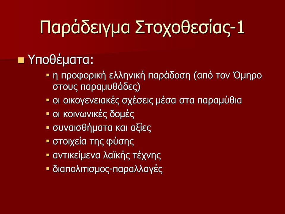 Παράδειγμα Στοχοθεσίας-1 Υποθέματα: Υποθέματα:  η προφορική ελληνική παράδοση (από τον Όμηρο στους παραμυθάδες)  οι οικογενειακές σχέσεις μέσα στα παραμύθια  οι κοινωνικές δομές  συναισθήματα και αξίες  στοιχεία της φύσης  αντικείμενα λαϊκής τέχνης  διαπολιτισμος-παραλλαγές
