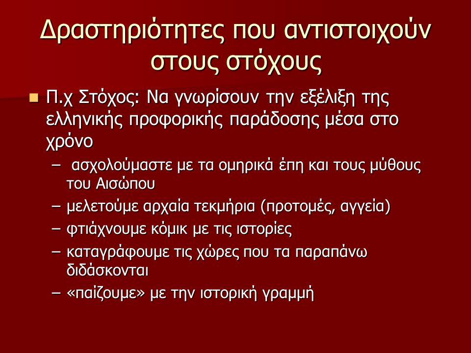 Δραστηριότητες που αντιστοιχούν στους στόχους Π.χ Στόχος: Να γνωρίσουν την εξέλιξη της ελληνικής προφορικής παράδοσης μέσα στο χρόνο Π.χ Στόχος: Να γνωρίσουν την εξέλιξη της ελληνικής προφορικής παράδοσης μέσα στο χρόνο – ασχολούμαστε με τα ομηρικά έπη και τους μύθους του Αισώπου –μελετούμε αρχαία τεκμήρια (προτομές, αγγεία) –φτιάχνουμε κόμικ με τις ιστορίες –καταγράφουμε τις χώρες που τα παραπάνω διδάσκονται –«παίζουμε» με την ιστορική γραμμή
