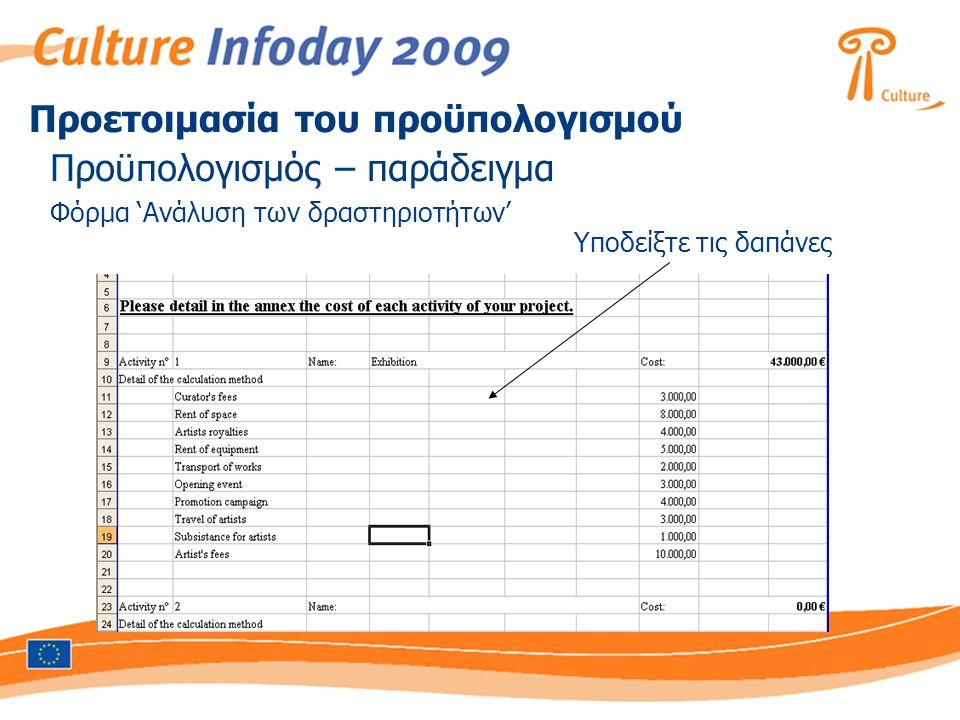 Προϋπολογισμός – παράδειγμα Φόρμα 'Ανάλυση των δραστηριοτήτων' Υποδείξτε τις δαπάνες Προετοιμασία του προϋπολογισμού