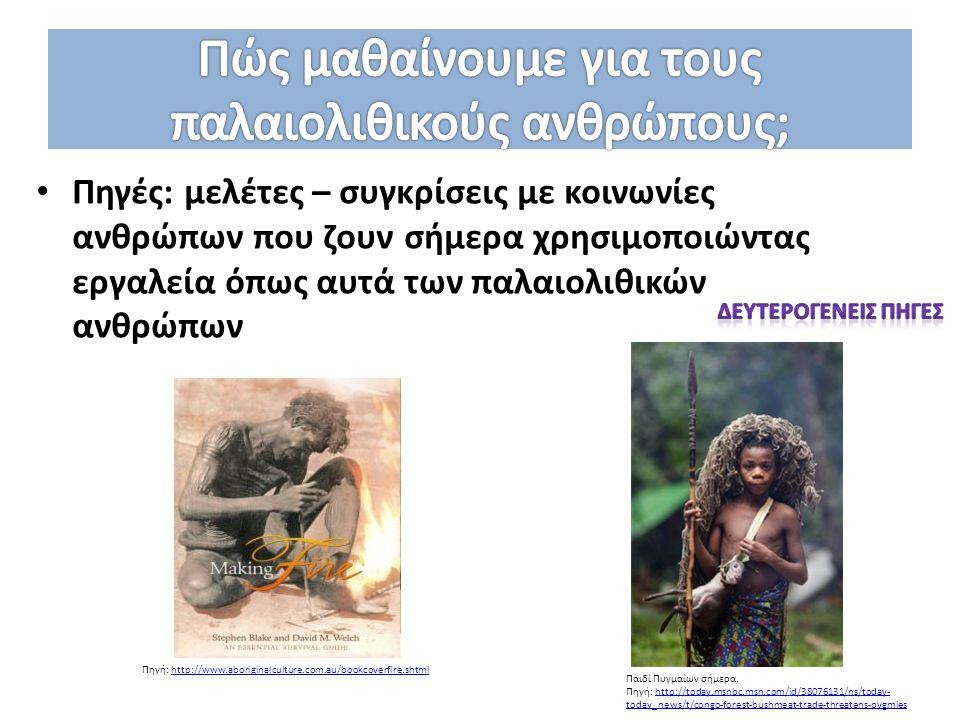 Πηγές: μελέτες – συγκρίσεις με κοινωνίες ανθρώπων που ζουν σήμερα χρησιμοποιώντας εργαλεία όπως αυτά των παλαιολιθικών ανθρώπων Παιδί Πυγμαίων σήμερα.