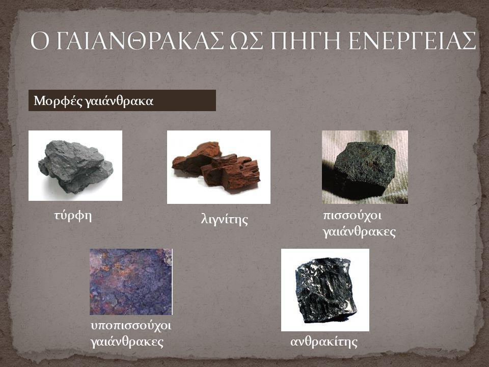 τύρφη λιγνίτης πισσούχοι γαιάνθρακες υποπισσούχοι γαιάνθρακες ανθρακίτης