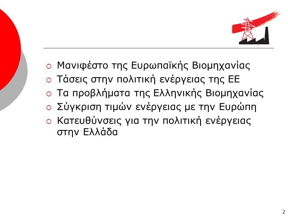  Μανιφέστο της Ευρωπαϊκής Βιομηχανίας  Τάσεις στην πολιτική ενέργειας της ΕΕ  Τα προβλήματα της Ελληνικής Βιομηχανίας  Σύγκριση τιμών ενέργειας με την Ευρώπη  Κατευθύνσεις για την πολιτική ενέργειας στην Ελλάδα 2