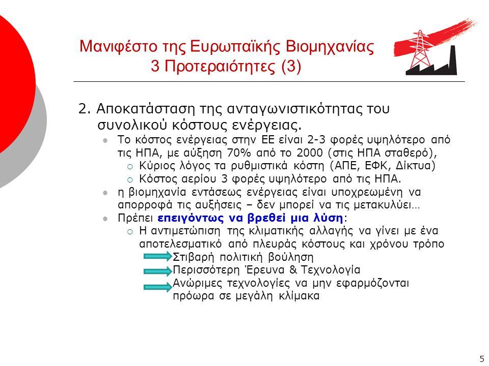 Μανιφέστο της Ευρωπαϊκής Βιομηχανίας 3 Προτεραιότητες (3) 2.