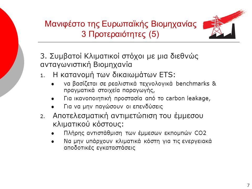 Μανιφέστο της Ευρωπαϊκής Βιομηχανίας 3 Προτεραιότητες (5) 3.